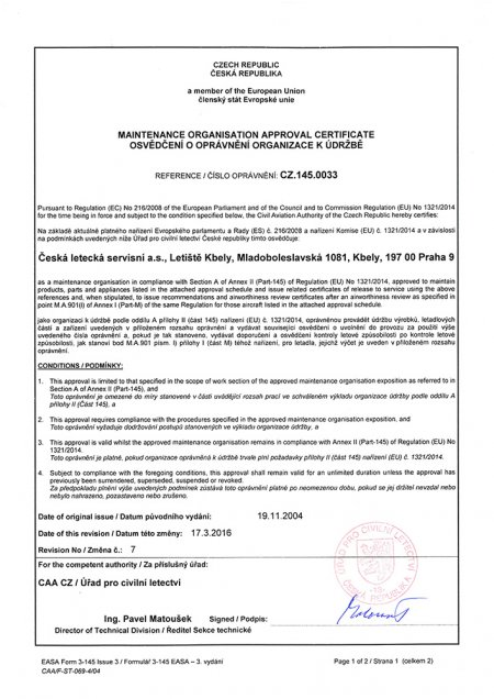 Certificate reference CZ.145.0033