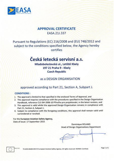 Approval Certificate EASA.21J.337