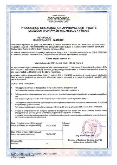 Certificate reference CZ.21G.0061