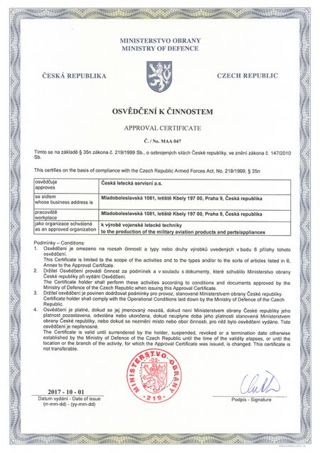 Approval Certificate No. MAA 047