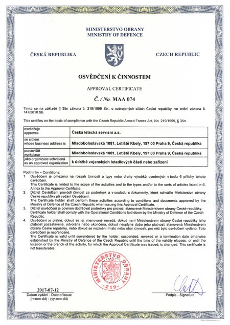 Approval Certificate No. MAA 074